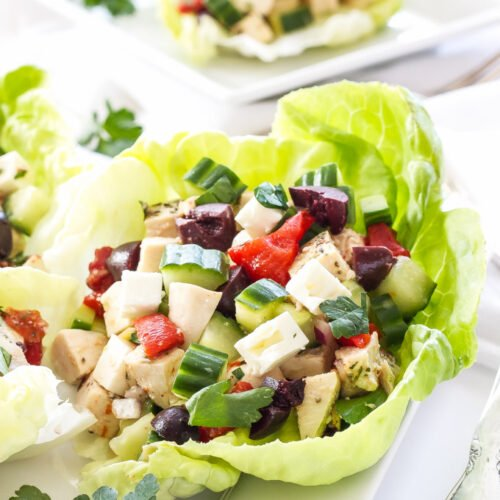 Greek Chicken Salad Lettuce Cups   These Greek Chicken Salad Lettuce Cups are low in carbs, high in protein and perfect for a light, fresh weeknight dinner or lunch!