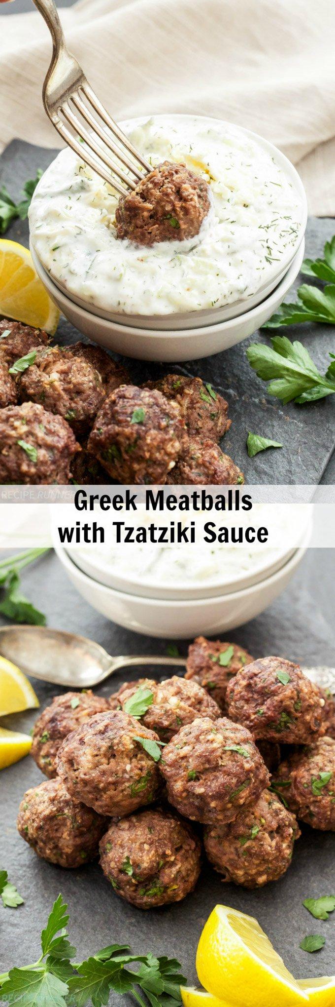 Greek Meatballs with Tzatziki Sauce | Meatballs loaded with spices, lemon zest and feta cheese! They're sure to please anyone who loves Greek flavors! #greek #meatballs #tzatziki #dinner #appetizer