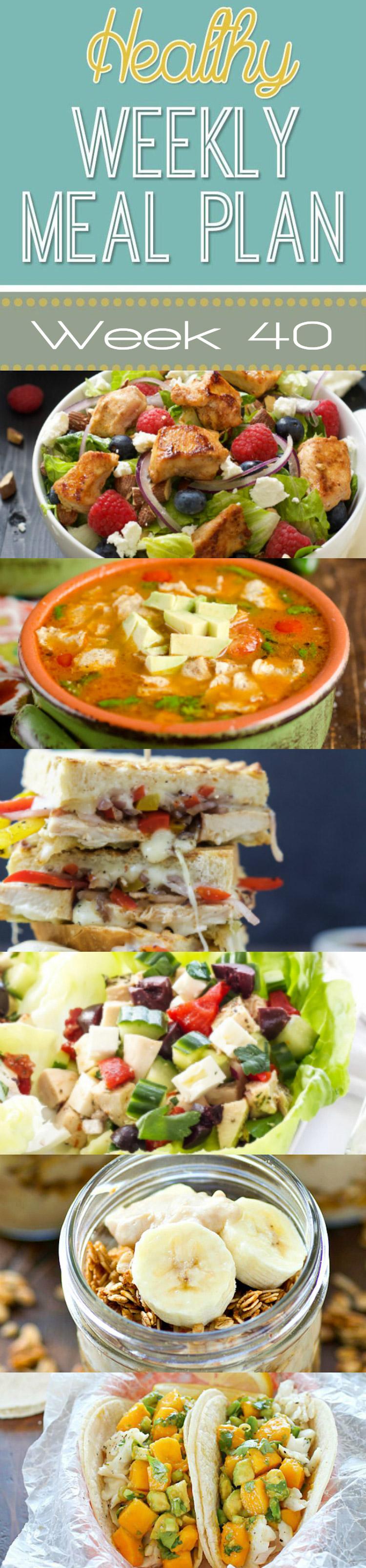 Healthy Weekly Meal Plan Week 40