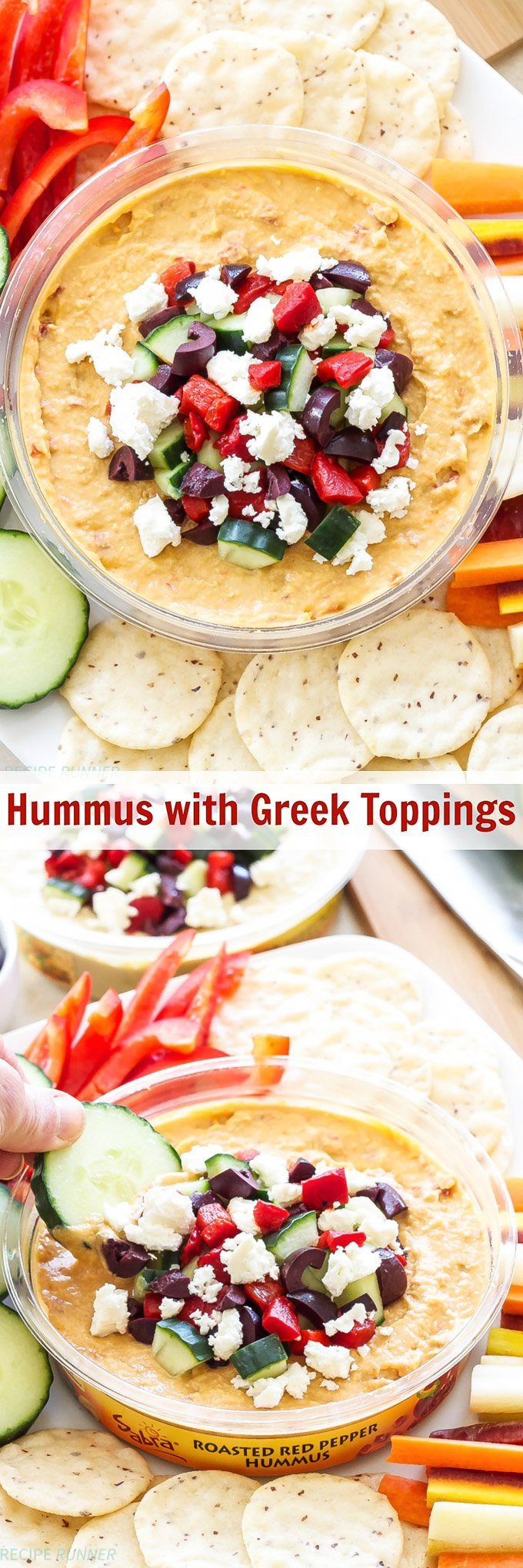Hummus with Greek Toppings | Turn an ordinary container of hummus into a delicious, custom creation by adding a few toppings to it!