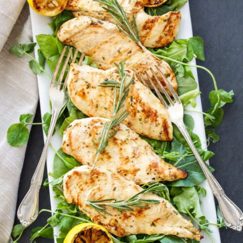 Lemon Rosemary Grilled Chicken   Chicken breasts are quickly marinated in lemon juice, dijon mustard, rosemary and garlic, then grilled to perfection!