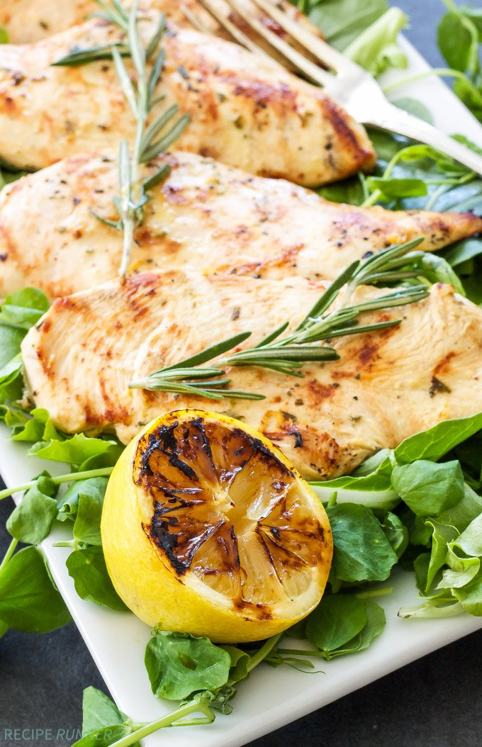 Lemon Rosemary Grilled Chicken | Chicken breasts are quickly marinated in lemon juice, dijon mustard, rosemary and garlic, then grilled to perfection!