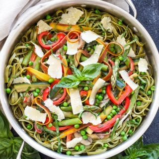 Pasta Primavera | One of the best ways to use all the spring vegetables is to toss them in this light and creamy Pasta Primavera!