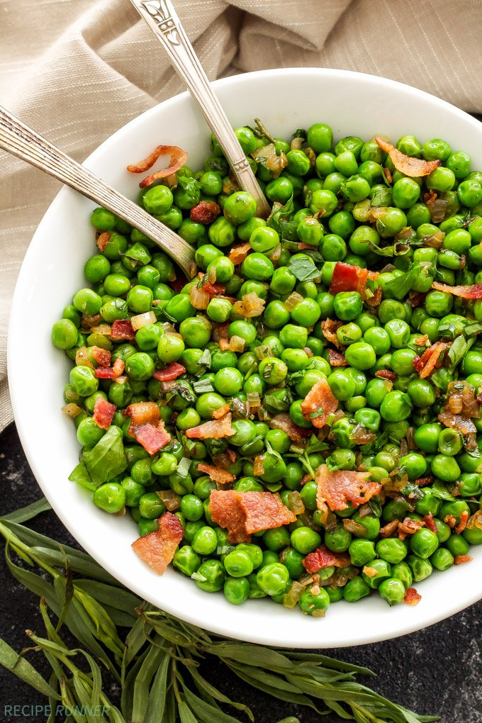 Sautéed Herbed Peas with Bacon | Adding a little bacon to your vegetables always makes them better!