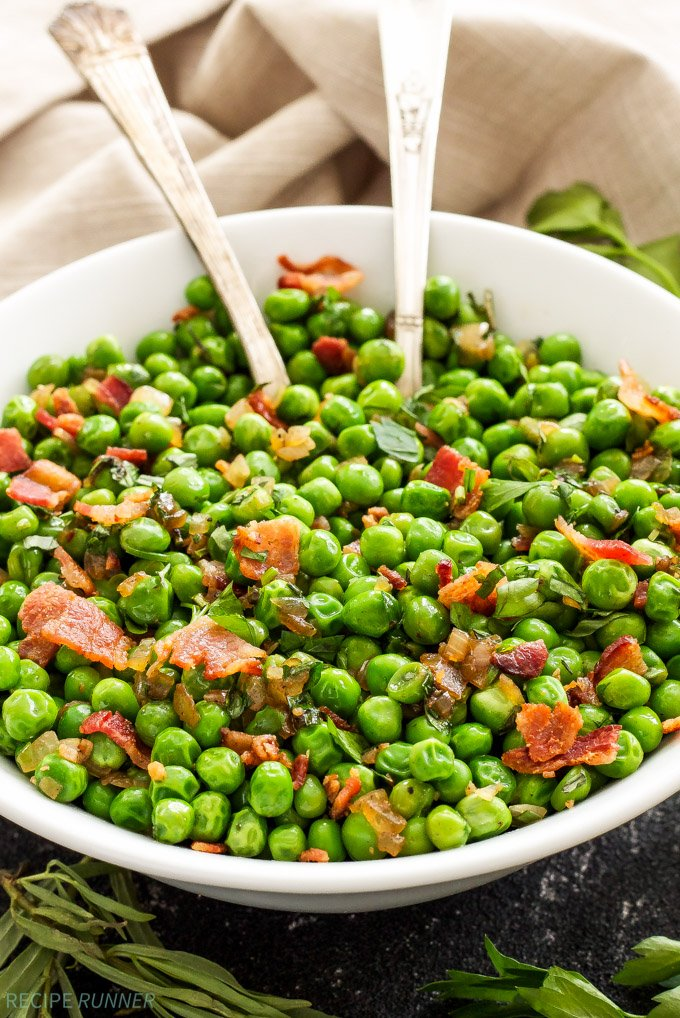 Sautéed Herbed Peas with Bacon - Recipe Runner