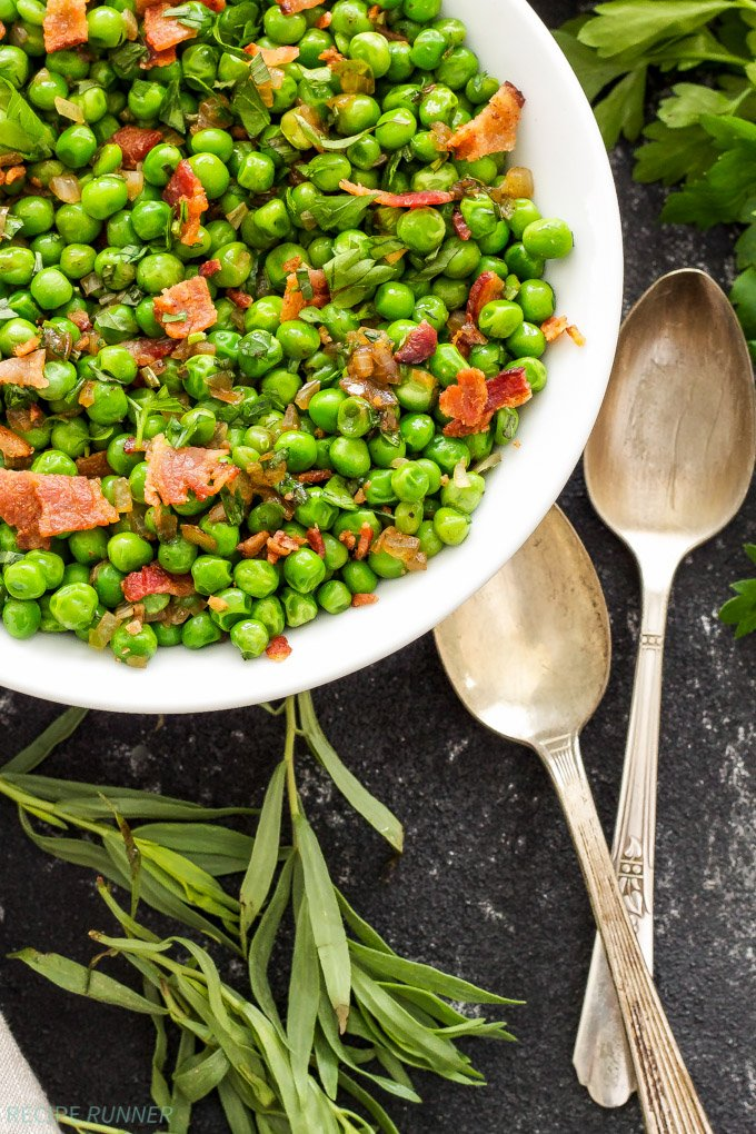 Sautéed Herbed Peas with Bacon   Adding a little bacon to your vegetables always makes them better!