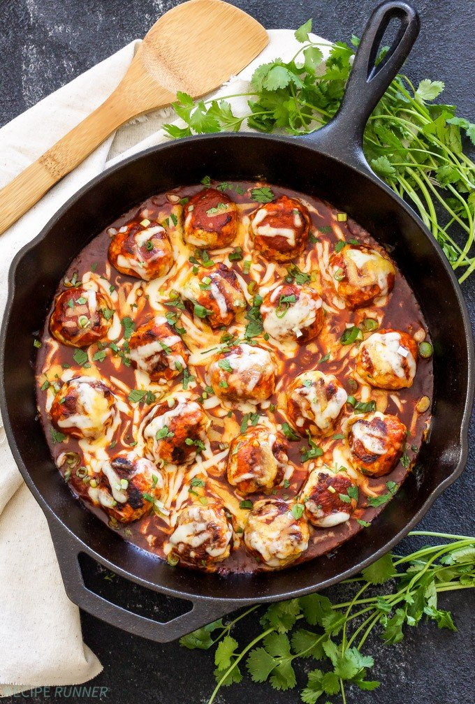 Skillet Enchilada Meatballs   Turkey meatballs seasoned with Mexican spices, browned in a skillet and topped with enchilada sauce and lots of cheese! The perfect solution when your craving hassle-free Mexican food!