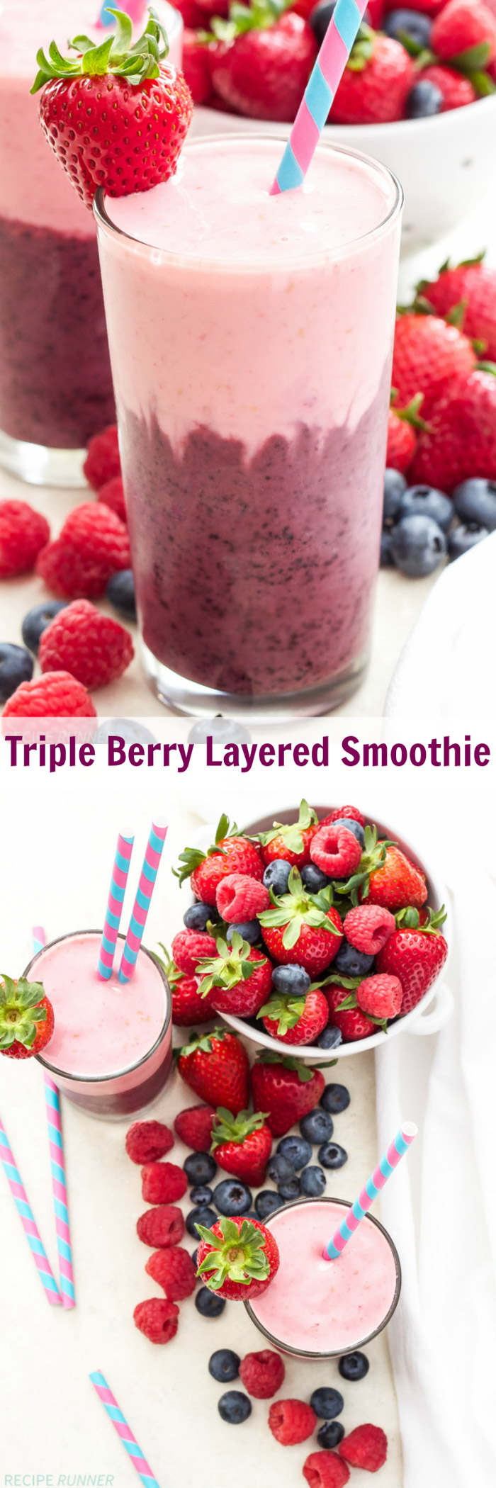 Triple Berry Layered Smoothie | Strawberries, raspberries and blueberries blended together with Greek yogurt in this thick and delicious layered smoothie!