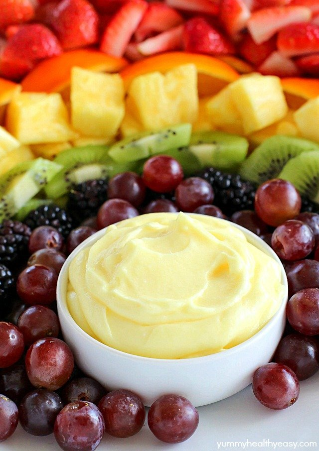 Fruit Rainbow with Lemon Fruit Dip