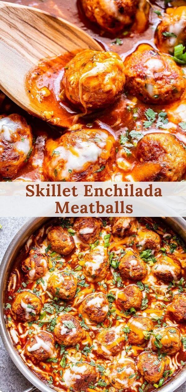 Skillet Enchilada Meatballs pinterest collage