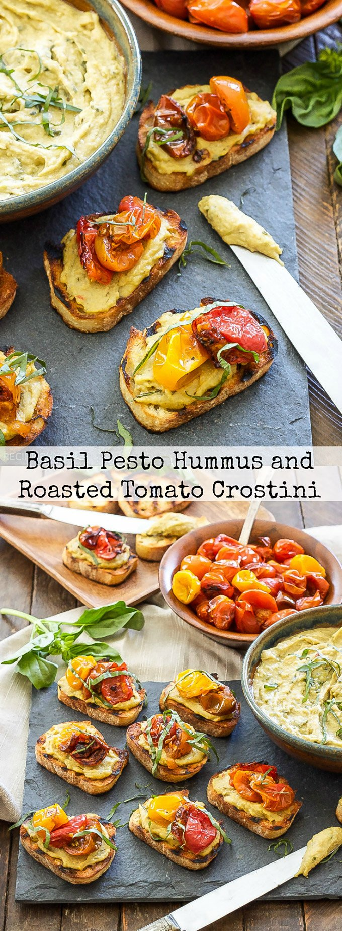 Basil Pesto Hummus and Roasted Tomato Crostini | You only need 4 ingredients to make this addicting little appetizer! #ad