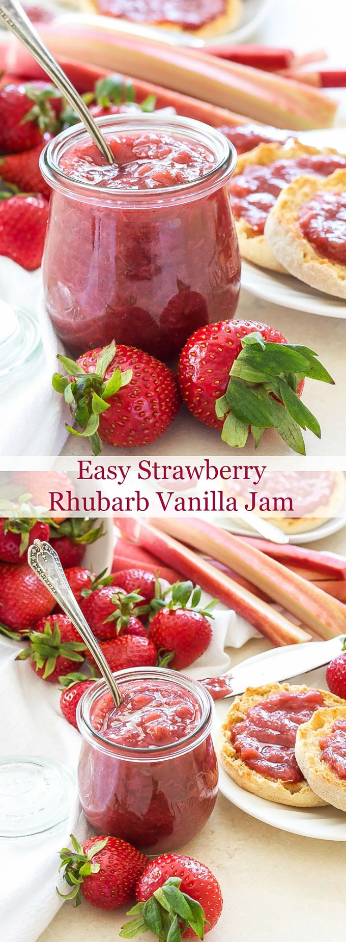 Easy Strawberry Rhubarb Vanilla Jam with Cardamom | A delicious, pectin-free, no canning required jam anyone can make!