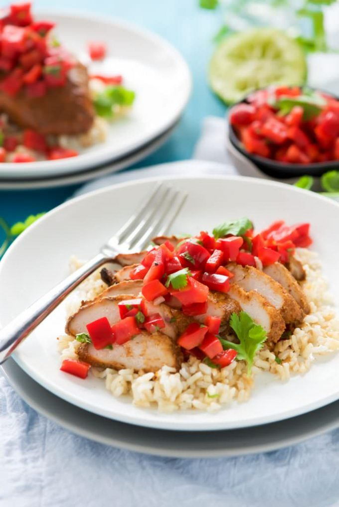 Grilled Tequila Honey Lime Chicken with Red Pepper Salsa