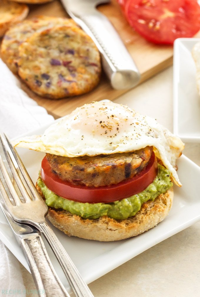 Open Faced Egg Avocado And Hash Brown Breakfast Sandwiches