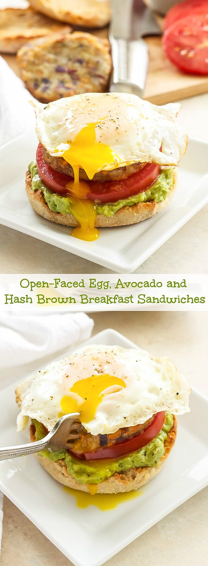 Open-Faced Egg, Avocado and Hash Brown Breakfast Sandwiches | Start your morning with a balanced breakfast full of protein, healthy fats and carbs!