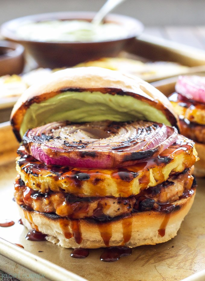 Teriyaki Turkey Burgers with Grilled Pineapple and Onions | Fire up the grill! You don't want to miss these flavorful burgers, the grilled toppings put them over the top!