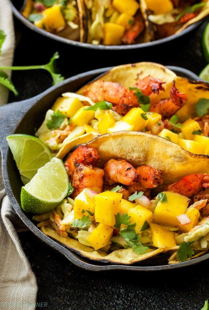 Grilled Shrimp Tacos with Avocado Slaw and Mango Salsa ...