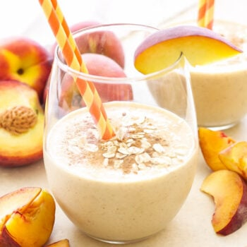 Oatmeal Peach Pie Smoothie   Creamy, full of protein and tastes like peach pie! This smoothie is the perfect breakfast or snack on a hot summer day!
