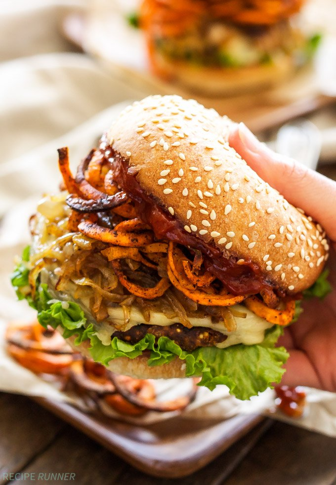 Santa Fe Veggie Burgers with Sweet Potato Fries, Caramelized Onions and Chipotle Ketchup   Veggie burgers loaded with so much flavor, you won't even realize they're meatless!
