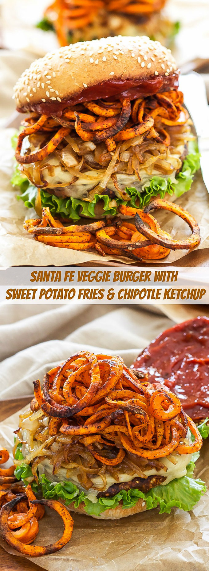 Santa Fe Veggie Burgers with Sweet Potato Fries, Caramelized Onions and Chipotle Ketchup | Veggie burgers loaded with so much flavor, you won't even realize they're meatless!