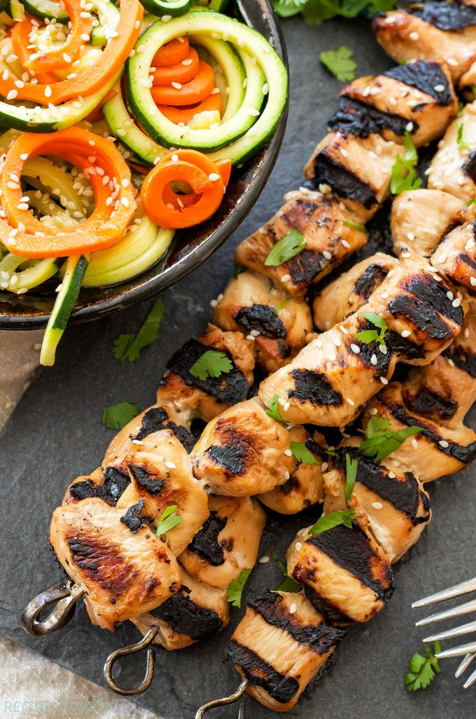 Teriyaki Chicken Skewers with Sesame Zucchini Noodles