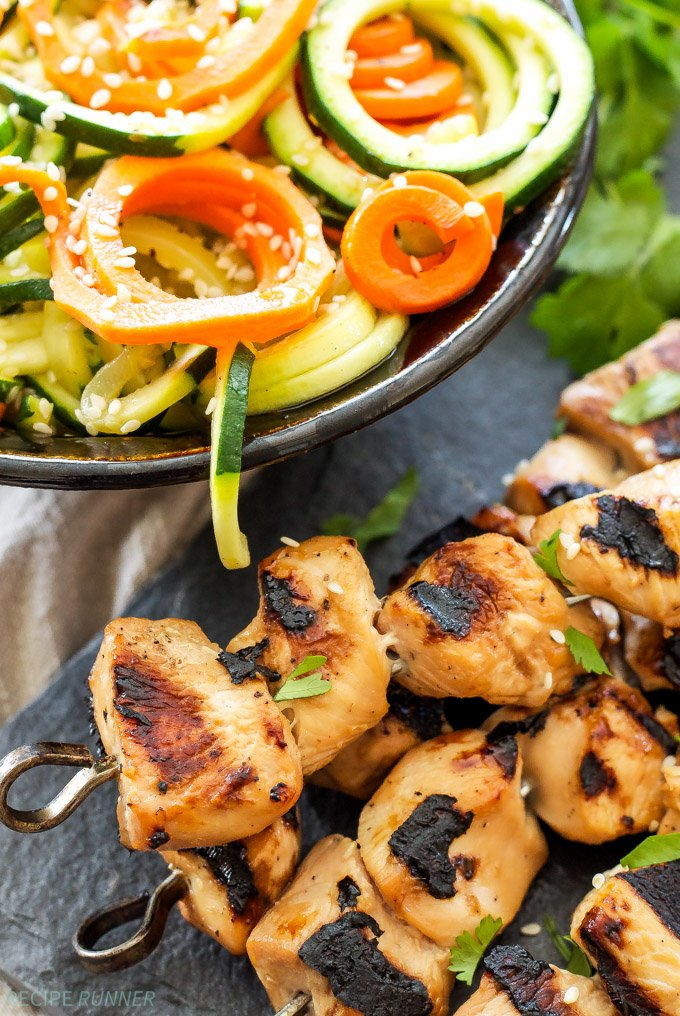 Teriyaki Chicken Skewers with Sesame Zucchini Noodles | Grilled teriyaki chicken skewers served with sesame zucchini noodles is perfect for a healthy and easy dinner!
