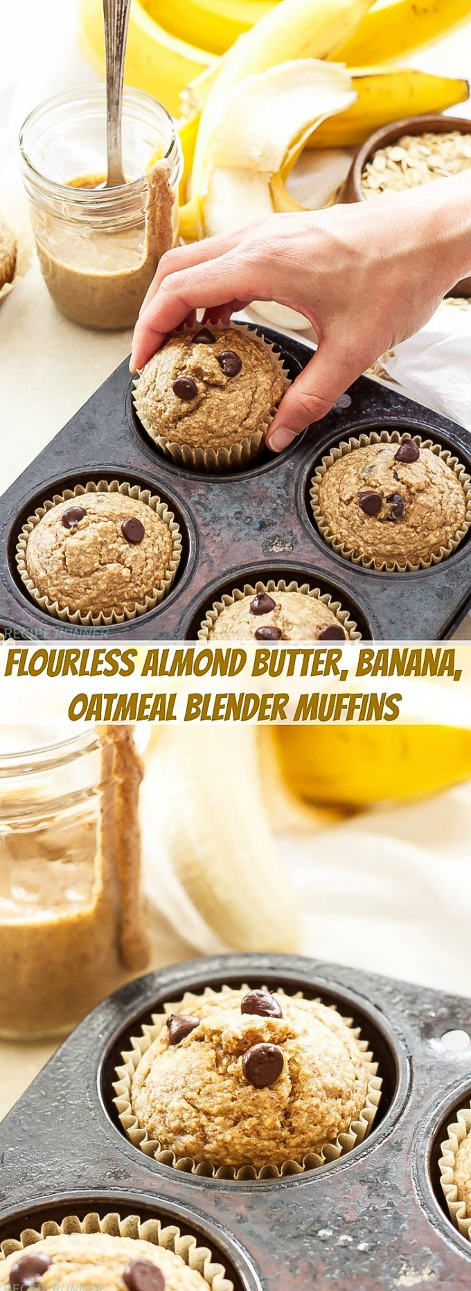 Almond Butter, Banana, Oatmeal Blender Muffins | You'll love how easy and tasty these flourless Almond Butter, Banana, Oatmeal Blender Muffins are! It's as easy as blend, bake and store in the freezer for a healthy grab-and-go breakfast or snack!
