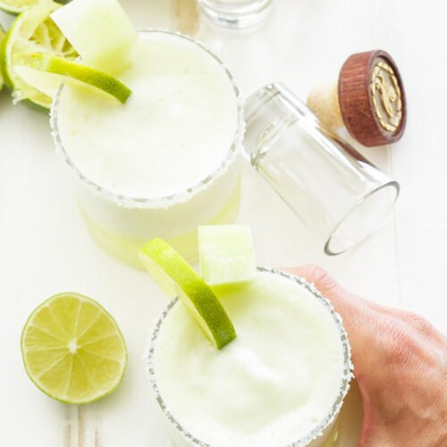 Frozen Honeydew Margaritas | Honeydew, lime juice, tequila, agave and ice are all you need to make these easy Frozen Honeydew Margaritas!