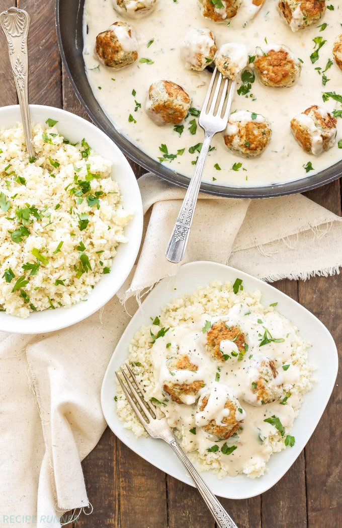 Healthy Swedish Meatballs with Cauliflower Rice Pilaf   An undated version of a recipe I grew up on. You won't find canned condensed soups in here! Made with real ingredients that you can feel good about serving your family!