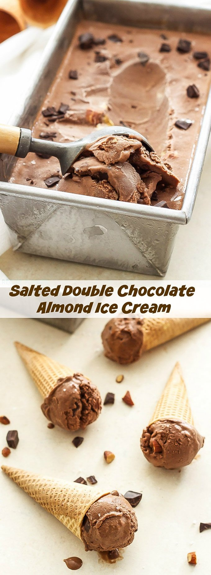 Salted Double Chocolate Almond Ice Cream | Loaded with almonds, chocolate chunks and a touch of sea salt, this dairy-free (vegan optional) ice cream is a salty/sweet chocolate lover's dream come true!