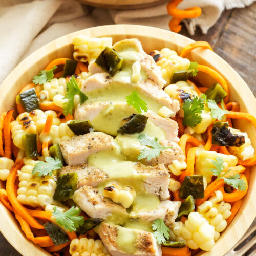 Sweet Potato Noodles with Grilled Chicken and Creamy Poblano Sauce   A healthy, Southwest flavored dinner full of carbs, protein and vegetables!