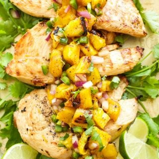 Tequila Lime Chicken with Grilled Pineapple Mango Salsa