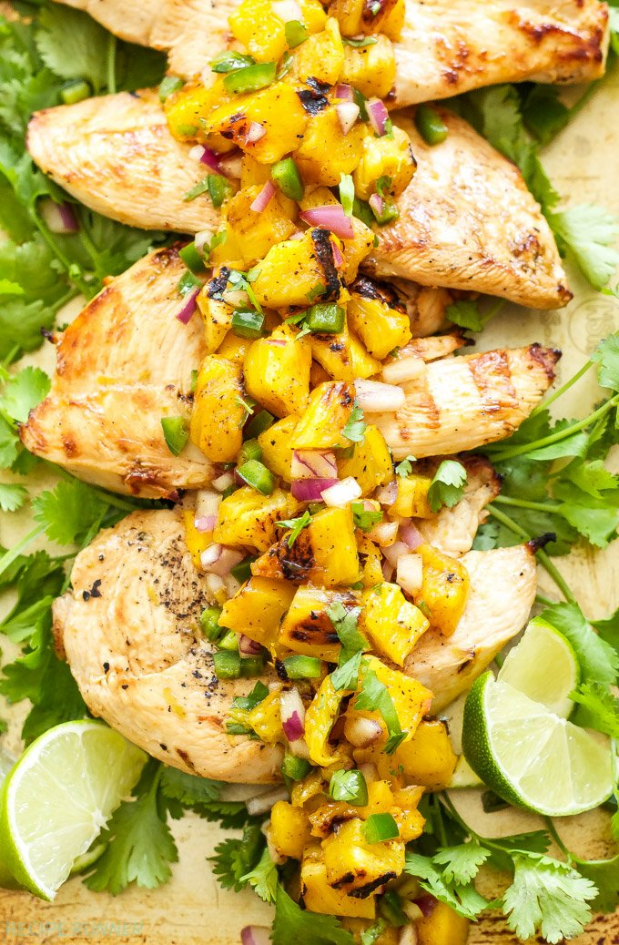 Tequila Lime Chicken with Grilled Pineapple Mango Salsa ...