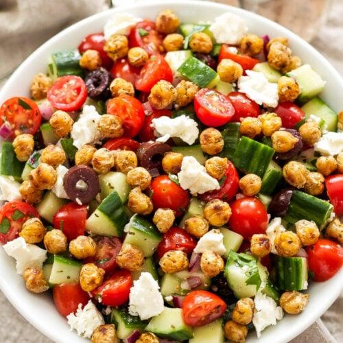 Greek Tomato Cucumber Salad with Crispy Chickpeas
