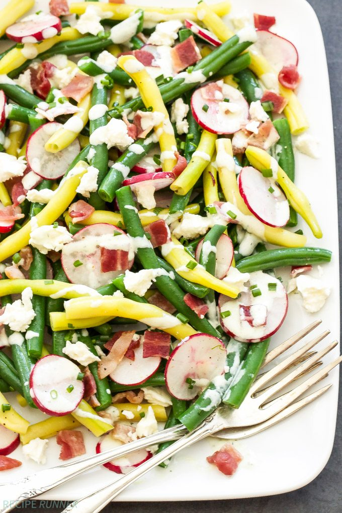 Green Bean, Radish and Bacon Salad with Creamy Feta Dressing   Crisp, crunchy and topped with an amazing creamy feta dressing, this is the perfect summer salad!