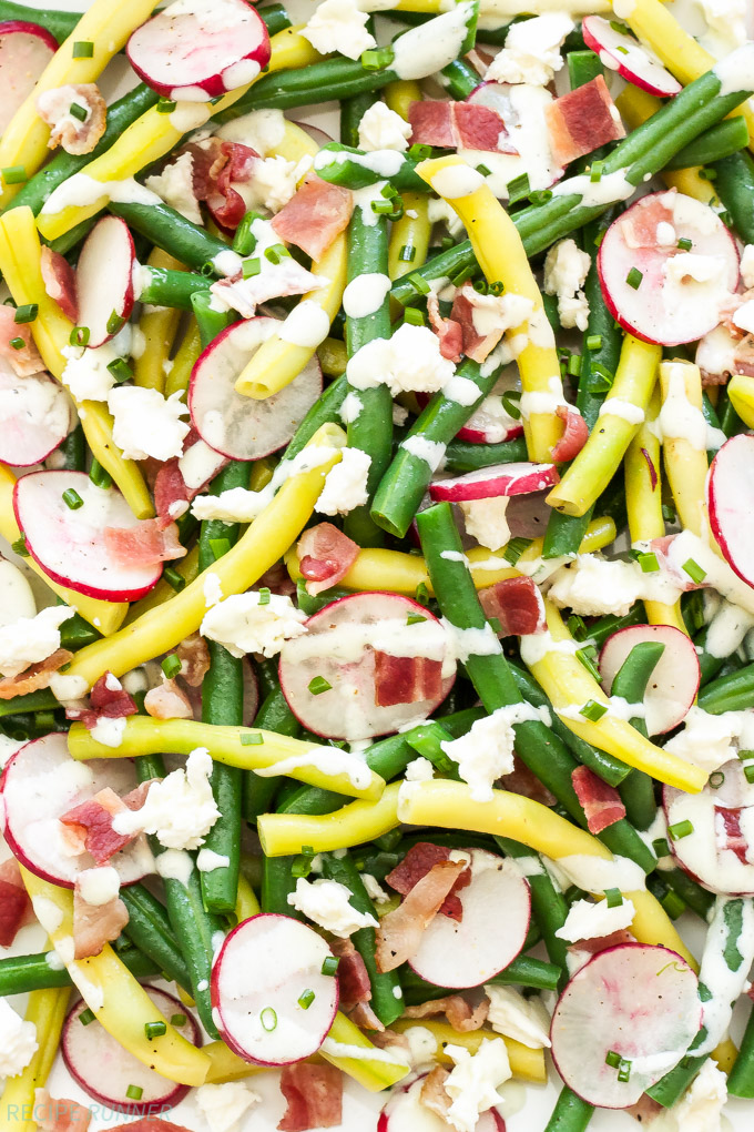 Green Bean, Radish and Bacon Salad with Creamy Feta Dressing | Crisp, crunchy and topped with an amazing creamy feta dressing, this is the perfect summer salad!