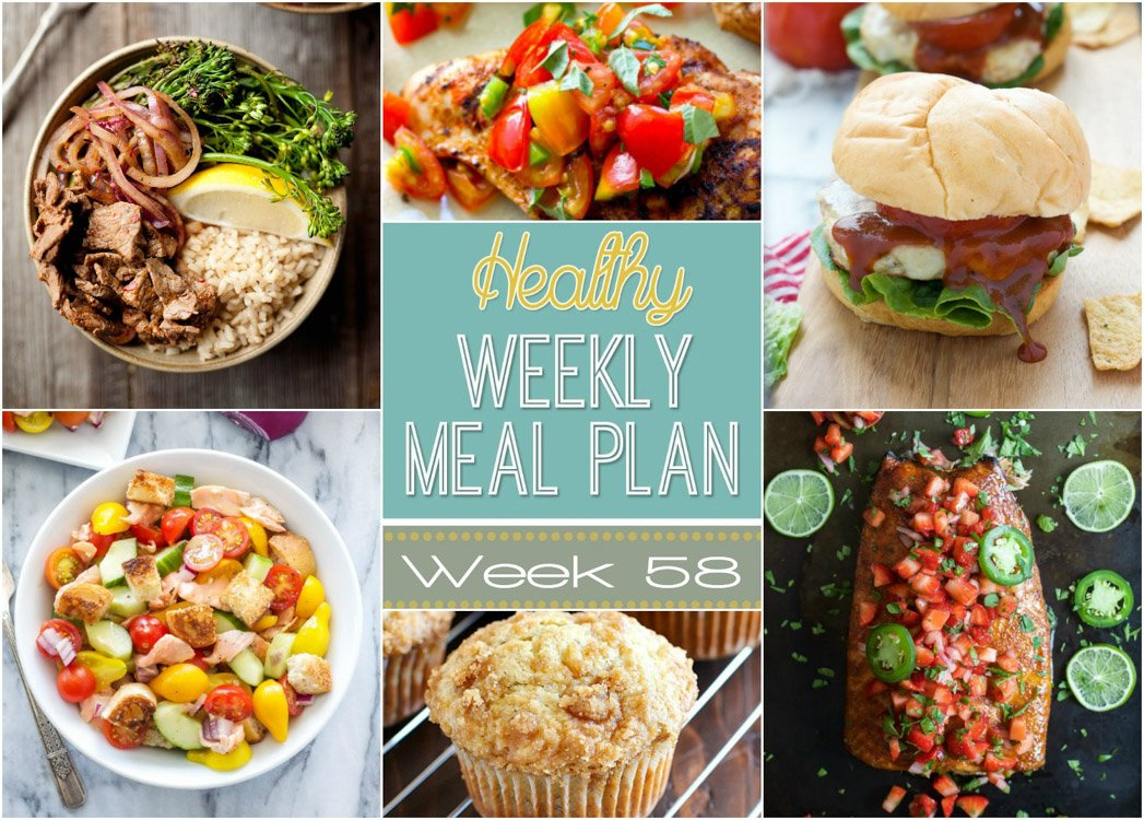 This week's Healthy Meal Plan is all about speedy, nutritious dinners! We start with Spicy Tex Mex Chicken Burgers for Labor Day BBQ's and followed up with Loaded Greek Pasta Salad to make meal times easy the rest of the week!