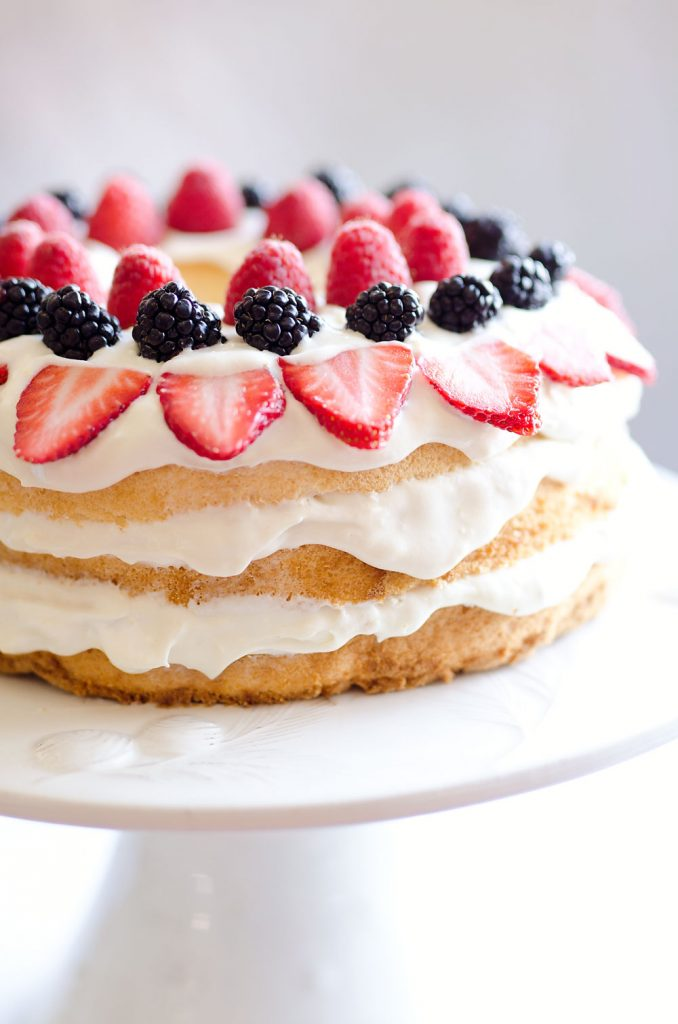 Light Berry Angel Food Cake