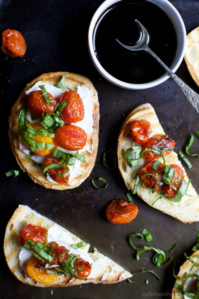 Roasted Tomato Bruschetta with Whipped Goat Cheese