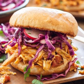 Slow Cooker Chipotle BBQ Chicken Sandwiches