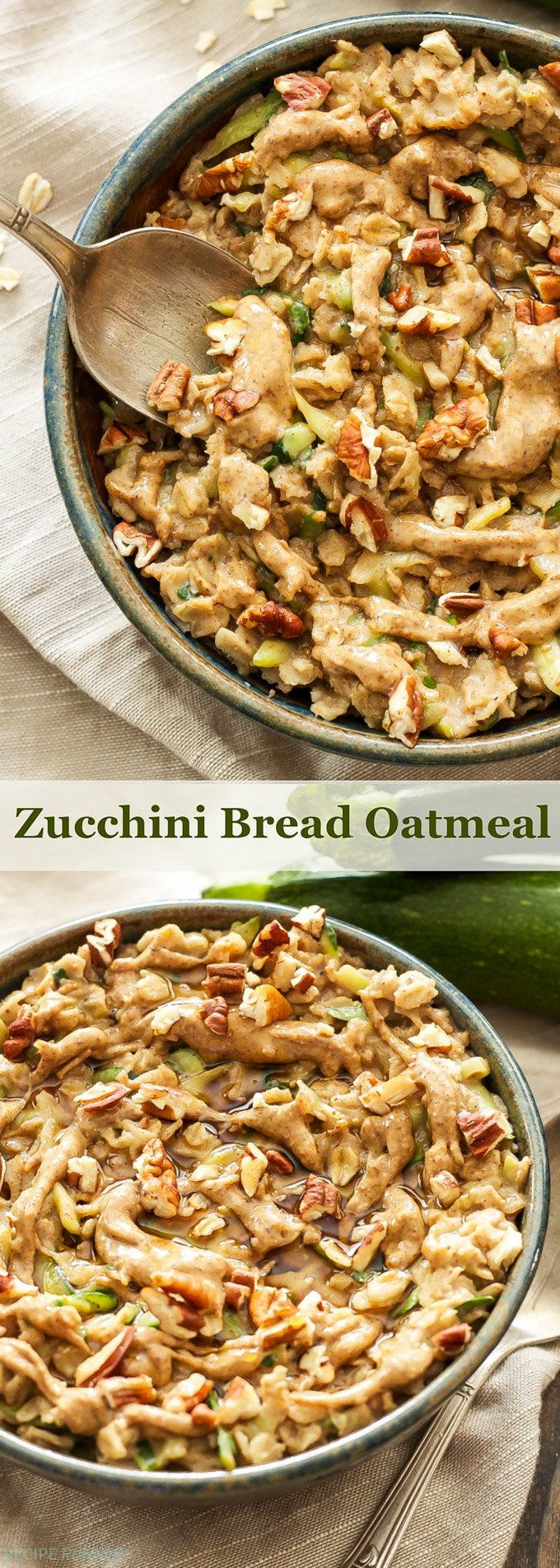 Zucchini Bread Oatmeal | Treat yourself to a bowl of this Zucchini Bread Oatmeal and get all the flavors that you would from the bread without overindulging!