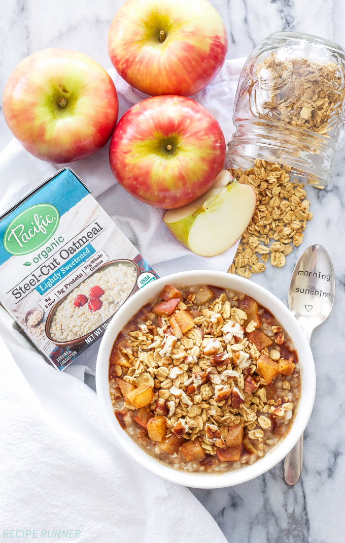 Apple Crisp Steel-Cut Oatmeal | Get your morning started with this healthy, dessert inspired oatmeal! Ready to eat in less than 10 minutes and tastes just like warm apple crisp!