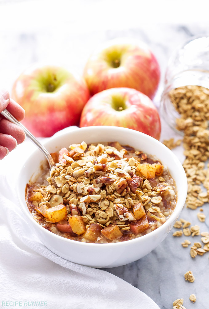 Apple Crisp Steel-Cut Oatmeal   Get your morning started with this healthy, dessert inspired oatmeal! Ready to eat in less than 10 minutes and tastes just like warm apple crisp!