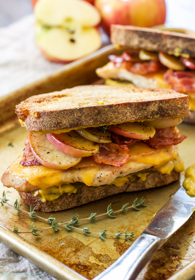 Cheddar, Bacon, Chicken, Apple Sandwiches with Honey Mustard Spread   Toasted bread with honey mustard spread, topped with chicken, melted cheddar cheese, crisp bacon and sweet sautéed apples! A savory-sweet comfort food sandwich!