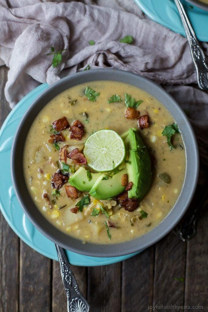 Crock Pot Potato Corn Chowder with Roasted Poblanos
