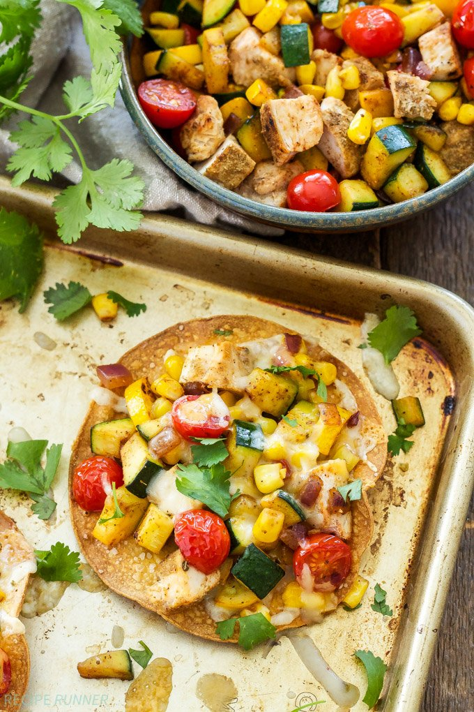 Grilled Chicken and Vegetable Tostadas - Recipe Runner