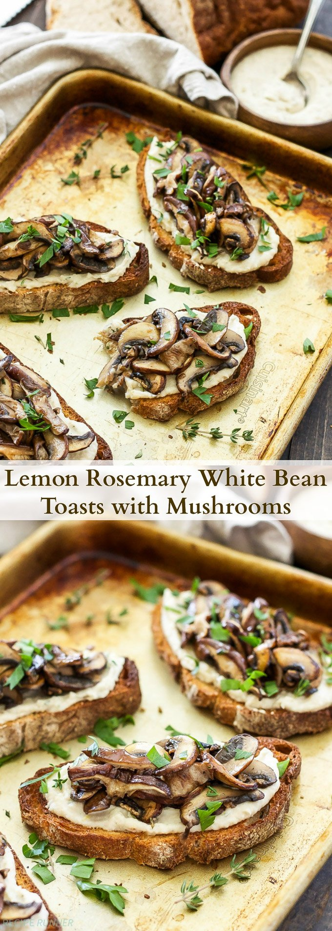 Lemon Rosemary White Bean Toasts with Mushrooms | Creamy white beans spread on crunchy whole grain toast and topped with a sautéed blend of mushrooms. They're great for any meal or an afternoon snack!