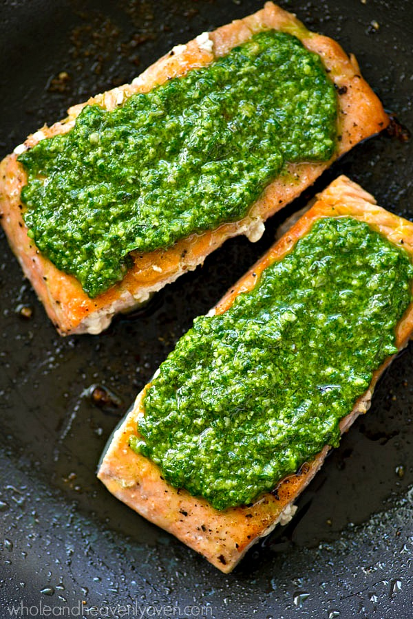 Pan Seared Salmon with Spinach Basil Pesto Sauce