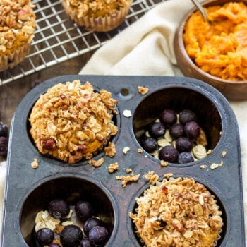 Pumpkin Blueberry Muffins with Oat Streusel   Whole wheat, full of pumpkin, warm spices and a generous amount of sweet blueberries. A perfect breakfast to wake up to on a fall morning!
