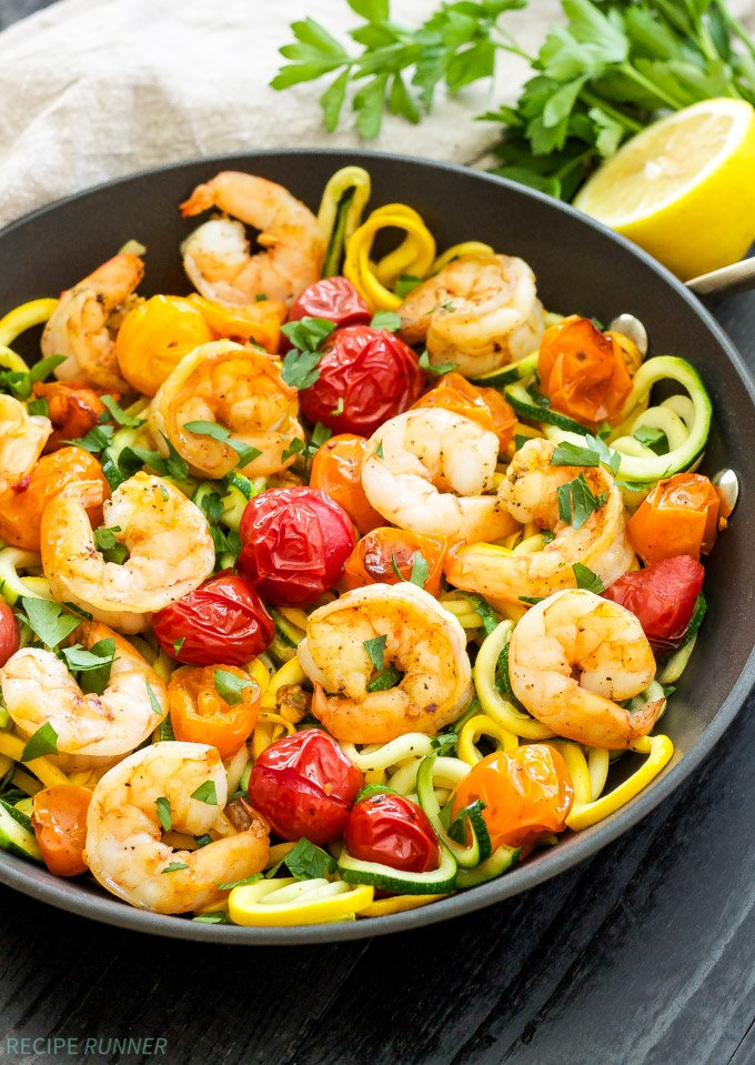 Roasted Tomatoes And Shrimp With Zucchini Noodles
